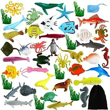 Sea Animal Figures Animal Toys 38PCS Nabance Mini Sea Animal Toys Set Animal