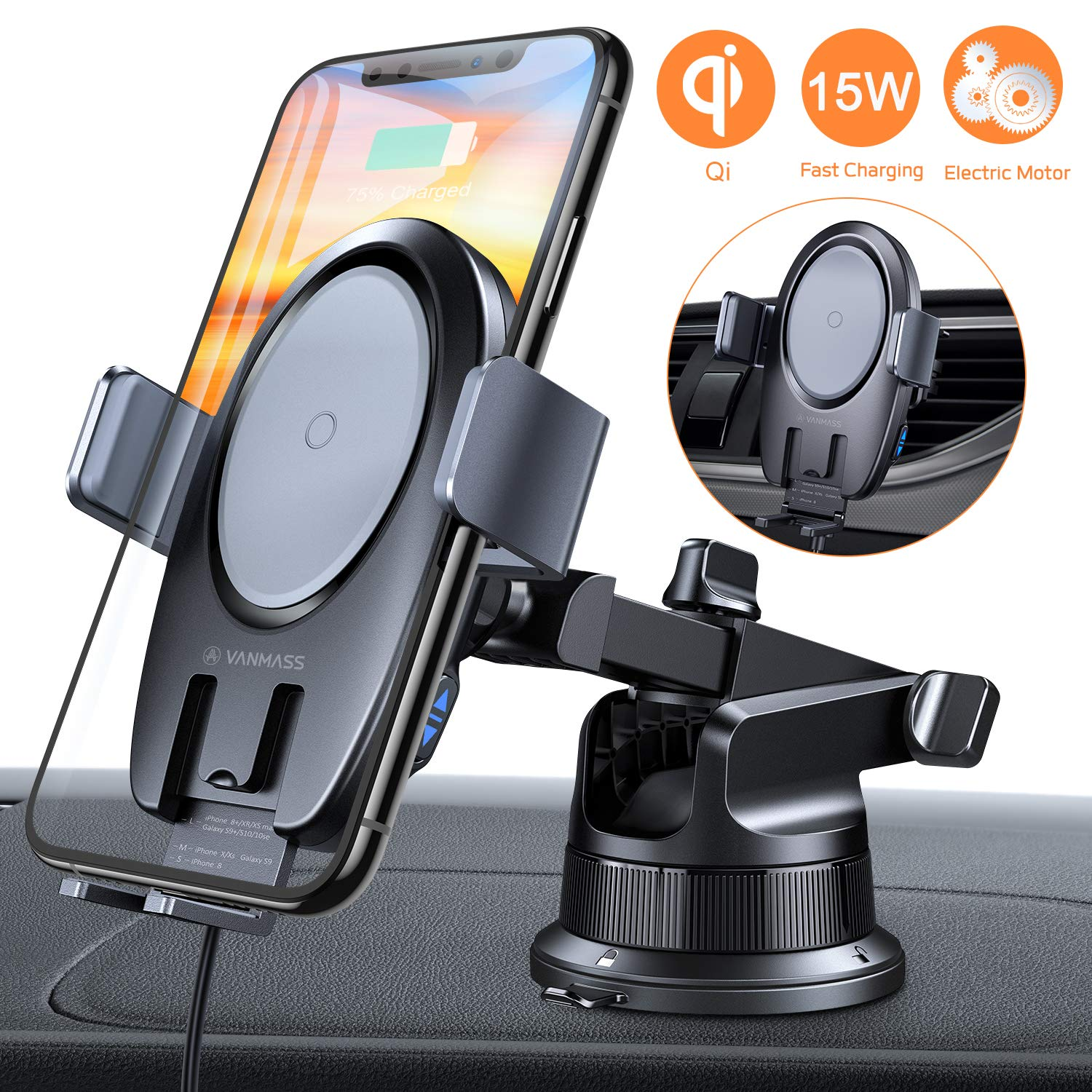VANMASS 15W Wireless Car Charger Mount, Electric Automatic Clamping Dashboard Air Vent Windshield Phone Holder,Qi Fast Charging Compatible with iPhone 11 Pro Max Xs X 8,Samsung S10 S9 Note10, LG V30+ by VANMASS