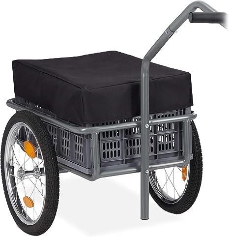 Relaxdays Remolque de Bicicleta, Arrastre & Carga, Caja Plegable, Funda & Conector, hasta 50kg, 1 Set, Gris, Adultos Unisex: Amazon.es: Deportes y aire libre
