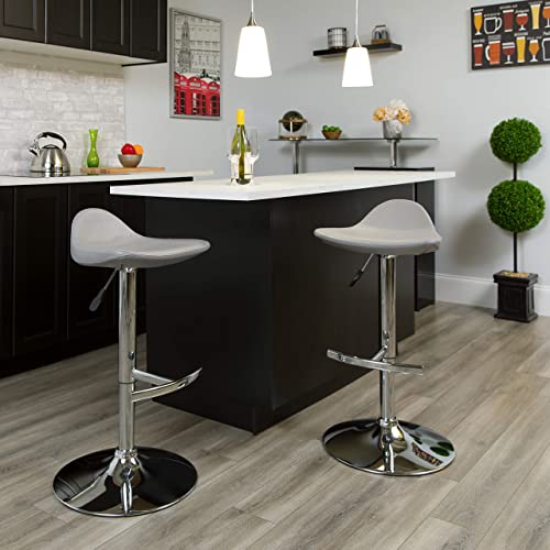 Flash Furniture Contemporary Gray Vinyl Adjustable Height Saddle Style Barstool with Chrome Base