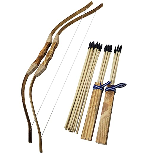 2-pack Handmade Wooden Bows And Arrows