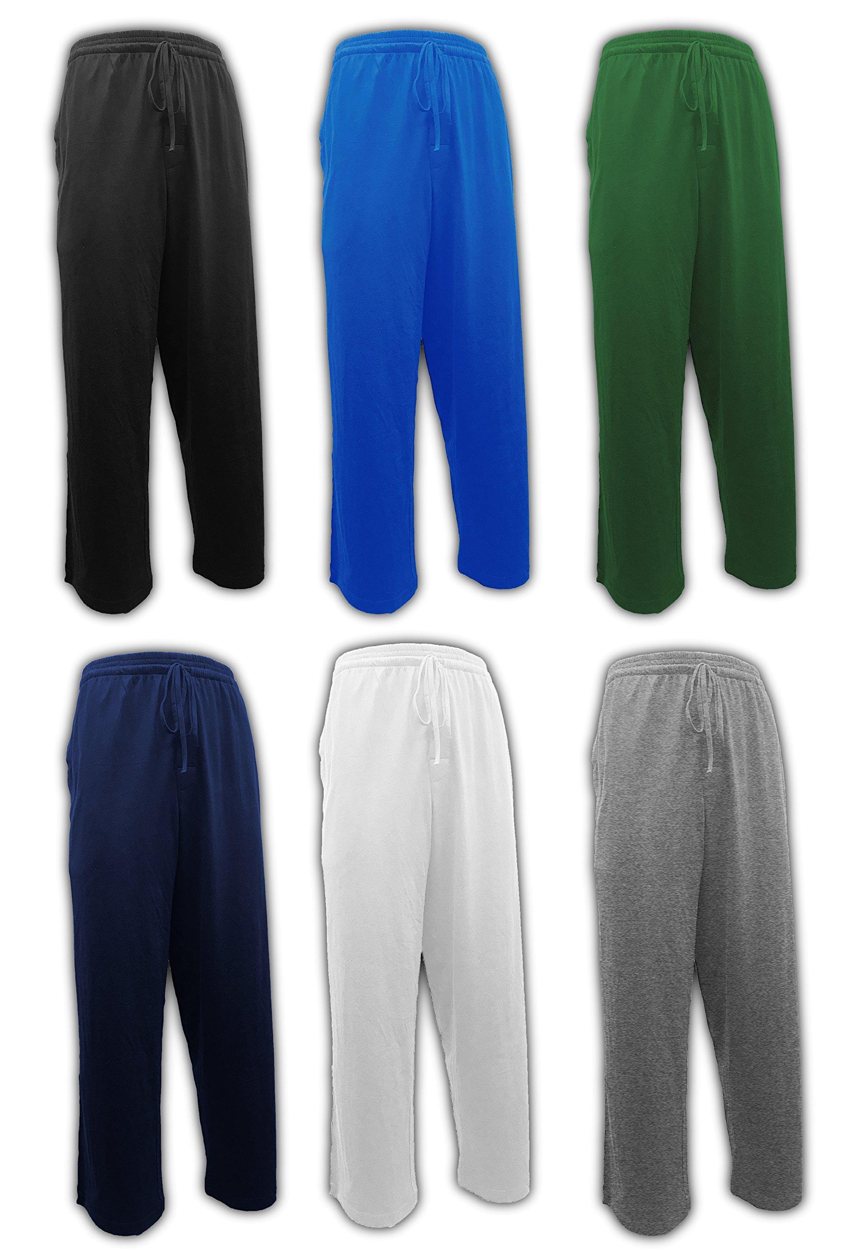 Andrew Scott Men's 6 Pack 100% Cotton Jersey Knit Yoga Lounge & Sleep Pajama Pants (6 Pack - Navy/Black/Royal/Hunter/White/Grey, Medium) by Andrew Scott (Image #1)