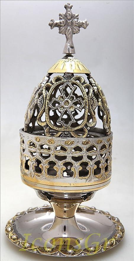 Cristiana ortodoxa lámpara de aceite en golden-silver color ...