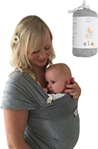DaisyGro Baby Wrap Carrier, 2 Sizes, Stretchy Cotton, Grey, Australian Reviews Only