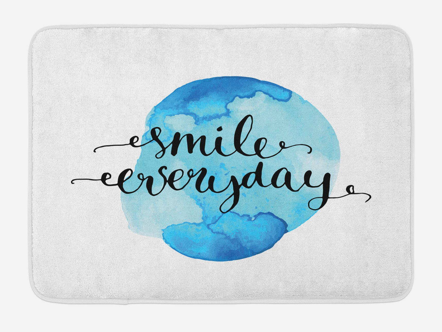 Lunarable Quote Bath Mat, Inspirational Smile Everyday Lettering with Watercolor Paint Stain Backdrop, Plush Bathroom Decor Mat with Non Slip Backing, 29.5 W X 17.5 W Inches, Blue Pale Blue Black