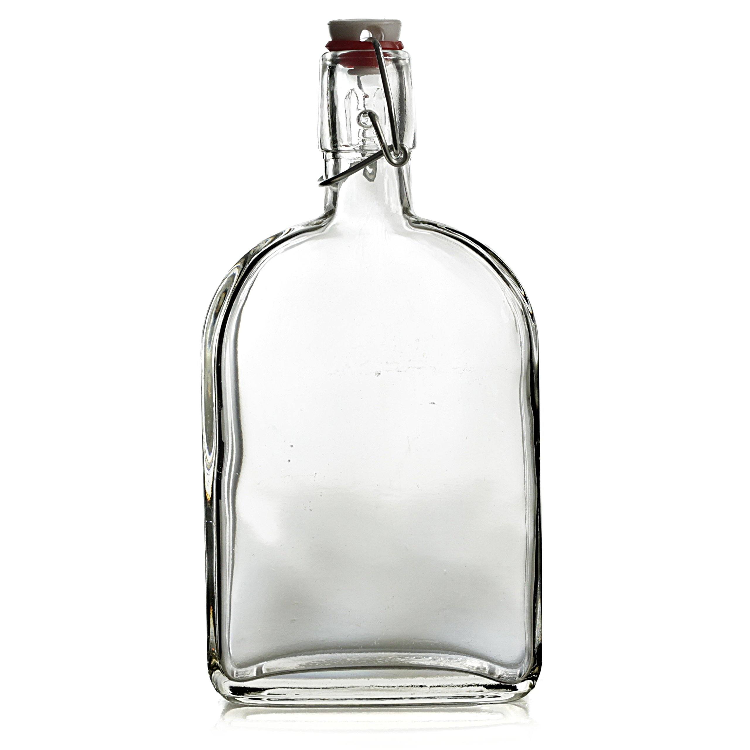 Grant Howard 12 Pack Glass Flask Cruet with Clip Top, 18 oz, Clear