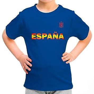 31d60f3423031 Lolapix Camiseta España Azul Personalizada con Nombre y número. Camiseta de  algodón. Regalo para niño. Varios diseños y Tallas. Fútbol  Amazon.es  Hogar