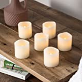 Set of 6 Votive Real Wax Battery Operated LED Tea Light Candles by Lights4fun