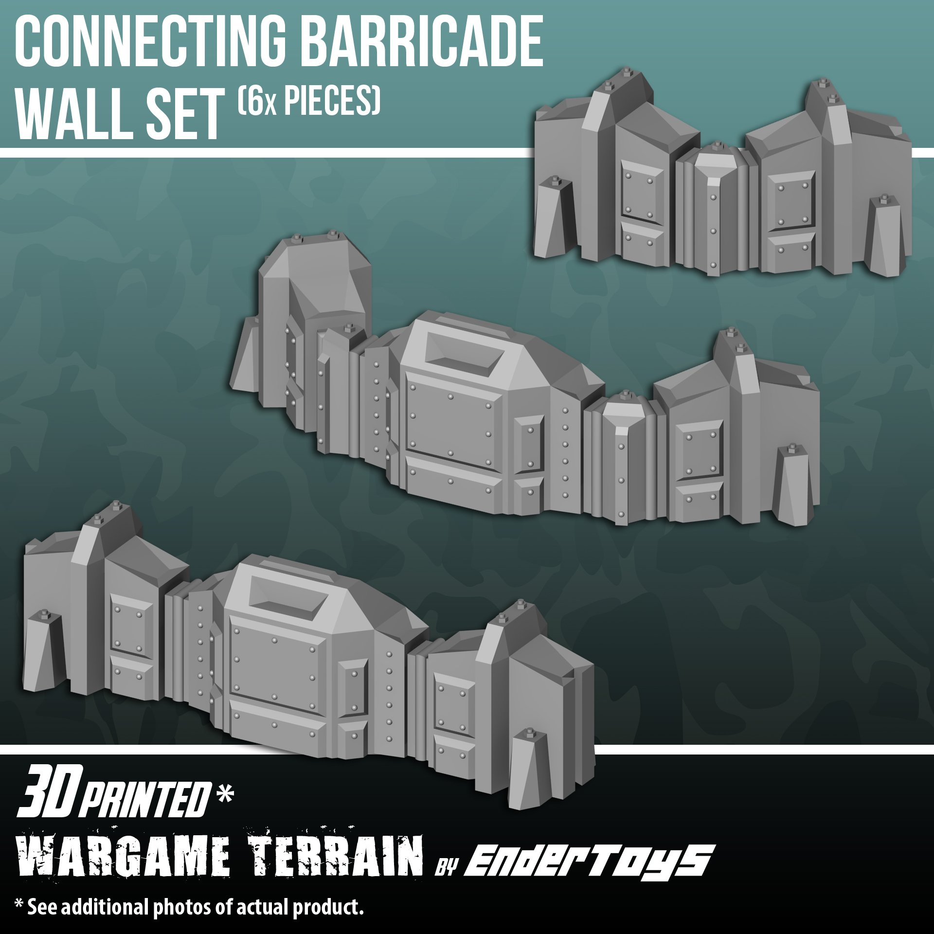 EnderToys Connecting Barricade Wall Set, Terrain Scenery for Tabletop 28mm Miniatures Wargame, 3D Printed and Paintable