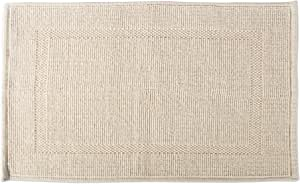 DII 100% Cotton Jaquard Luxury Hotel & Spa Banded Bath Mat for Bathroom, Tub, and Shower, 20x31 - Bordered Natural