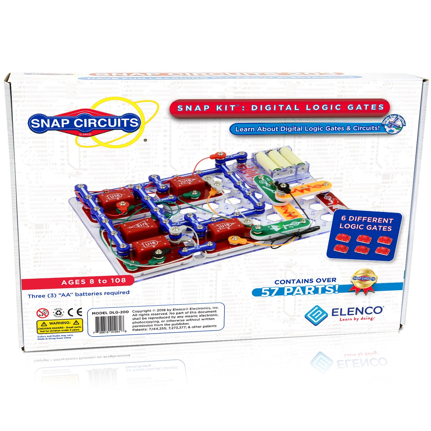 Snap Circuits Digital Logic Gates 200 Exploration Kit Replacement Motor Top For 4 Color Downloadable Project Manual 42 Modules 11 Not Gateand