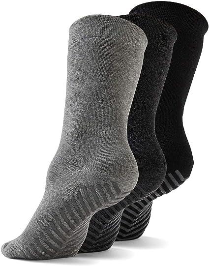 3 pk Gripjoy Grip Socks Non Slip Socks for Women MenNon Skid Hospital Socks