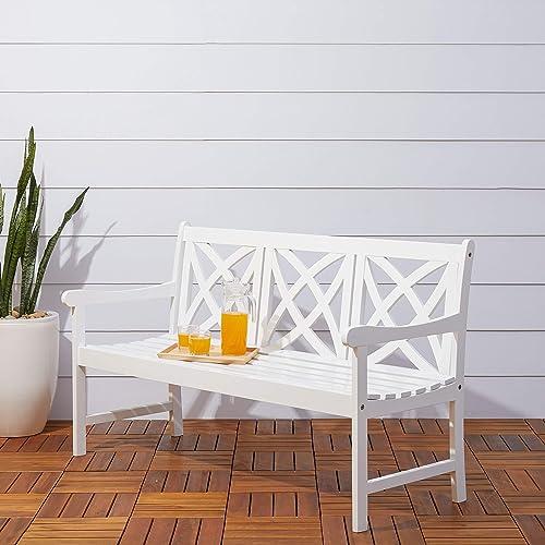 Vifah Bradley Outdoor Patio 5-Foot Wood Garden Bench