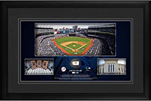 """Yankees Framed 10"""" x 18"""" Stadium Panoramic Collage with a Piece of Game-Used Baseball - Limited Edition of 500 - MLB Game Used Baseball Collages"""