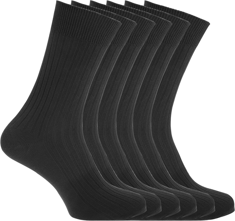 Floso - Calcetines acanalados 100% algodón hombre caballero (6 ...