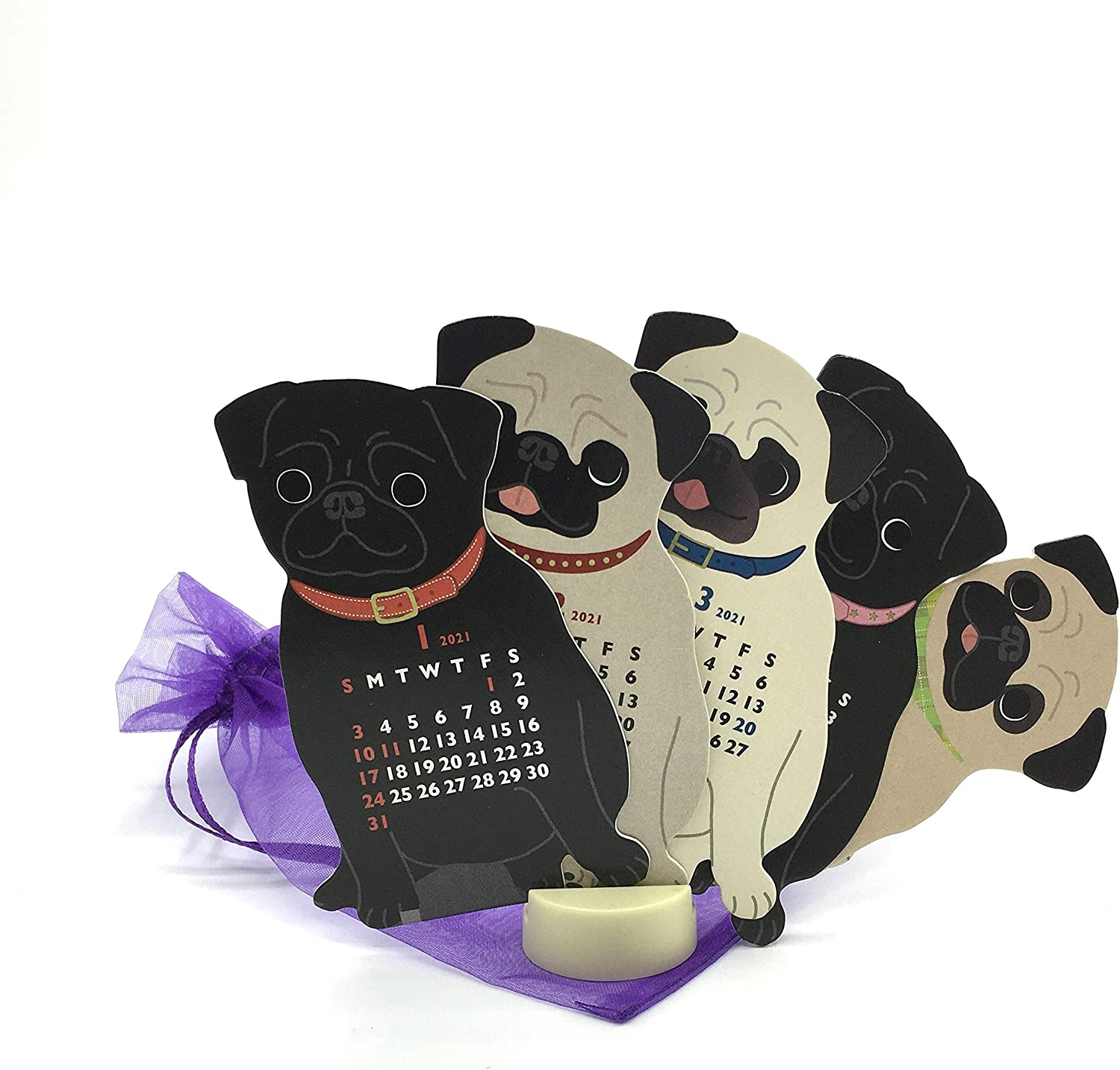 Mini Small Size Pug Dog 2021 Die-Cut Desktop Calendar 2.25 in. W x 4 in. Tall with Mini Organza Pouch