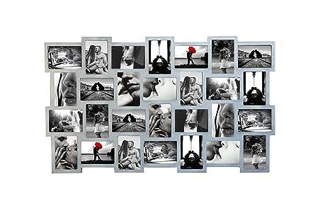 Rebecca Mobili 28*Marco de Fotos Portafotos Multiple Portaretratos Madera Plateado Decoration - 58 x