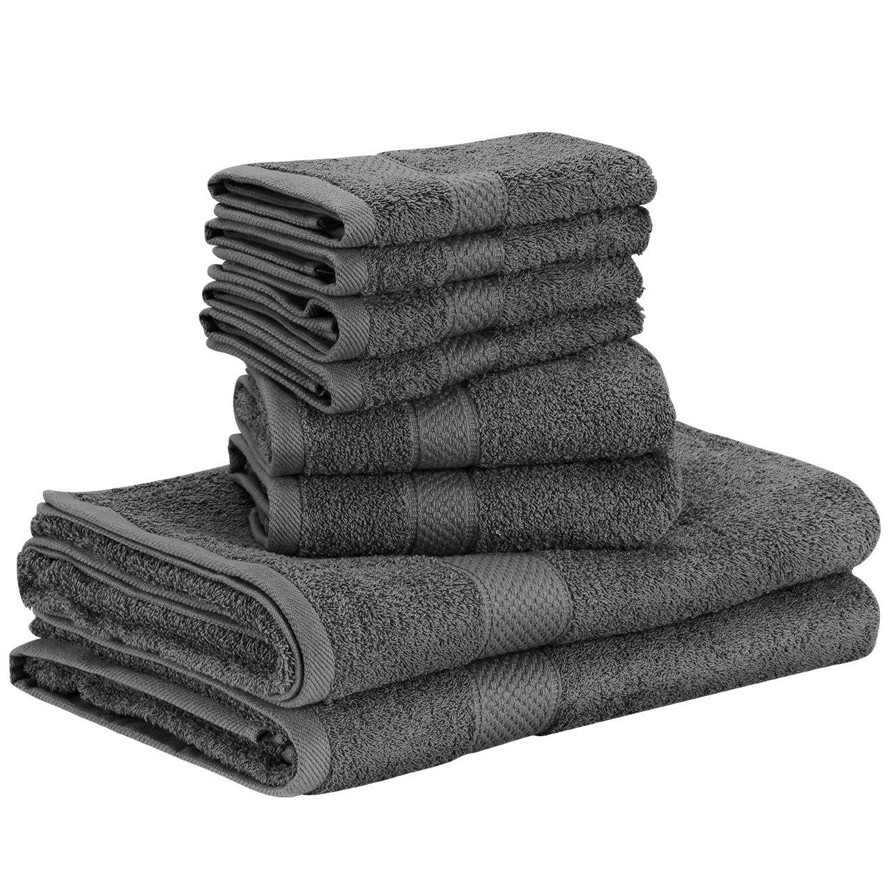 Homitt 8 tlg Handtuch-Set, 4 Gesicht Handtücher 2 Handtücher 2 Duschtücher, Baumwolle Handtücher Set Badetücher Gästetücher Duschtuch 70x140cm Grau