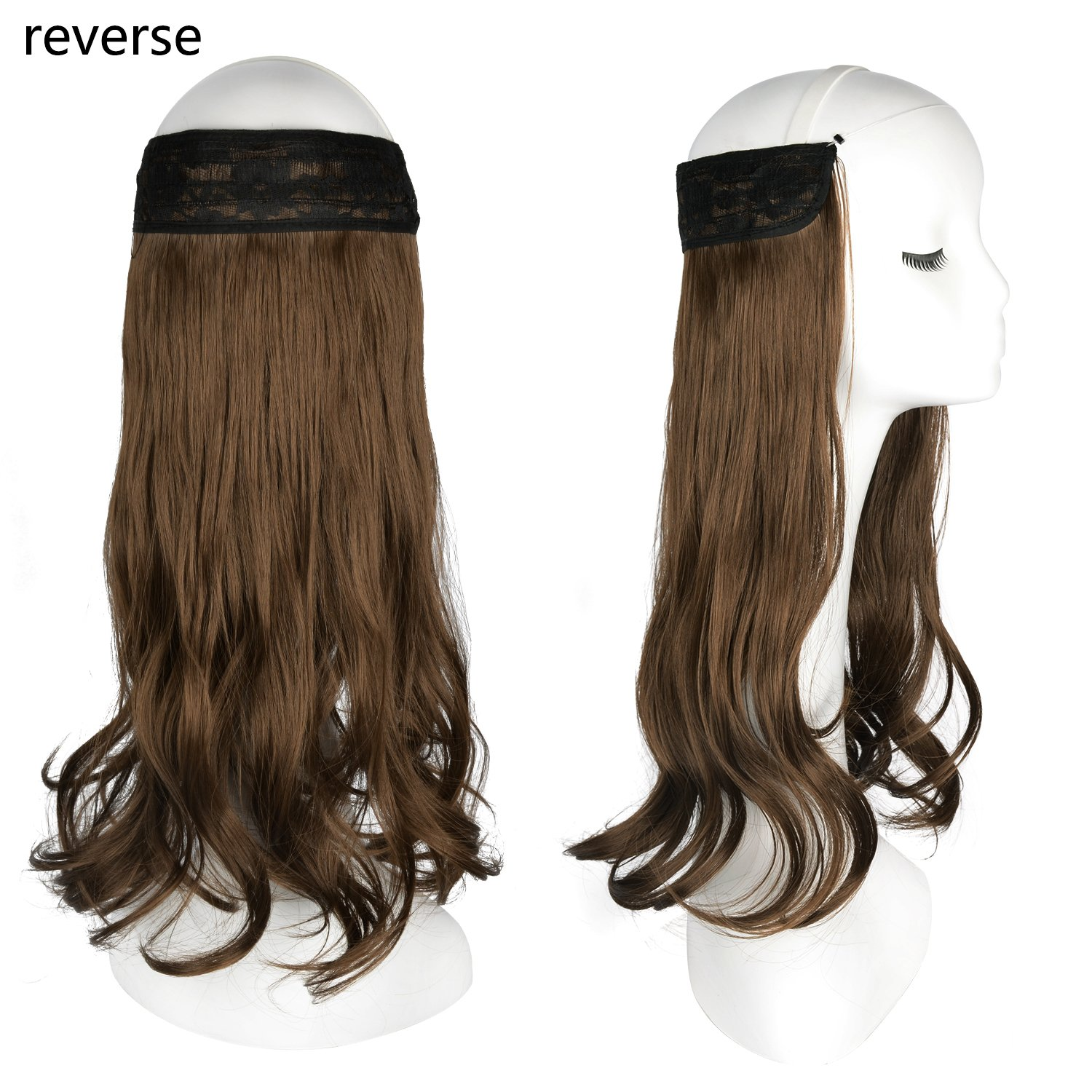 FESHFEN 20 inch Invisible Wire Secret Halo Hair Extensions Curly ...