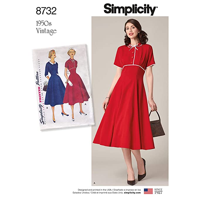 1950s Fabrics & Colors in Fashion Simplicity Vintage US8732U5 Dresses U5 (16-18-20-22-24) $6.99 AT vintagedancer.com