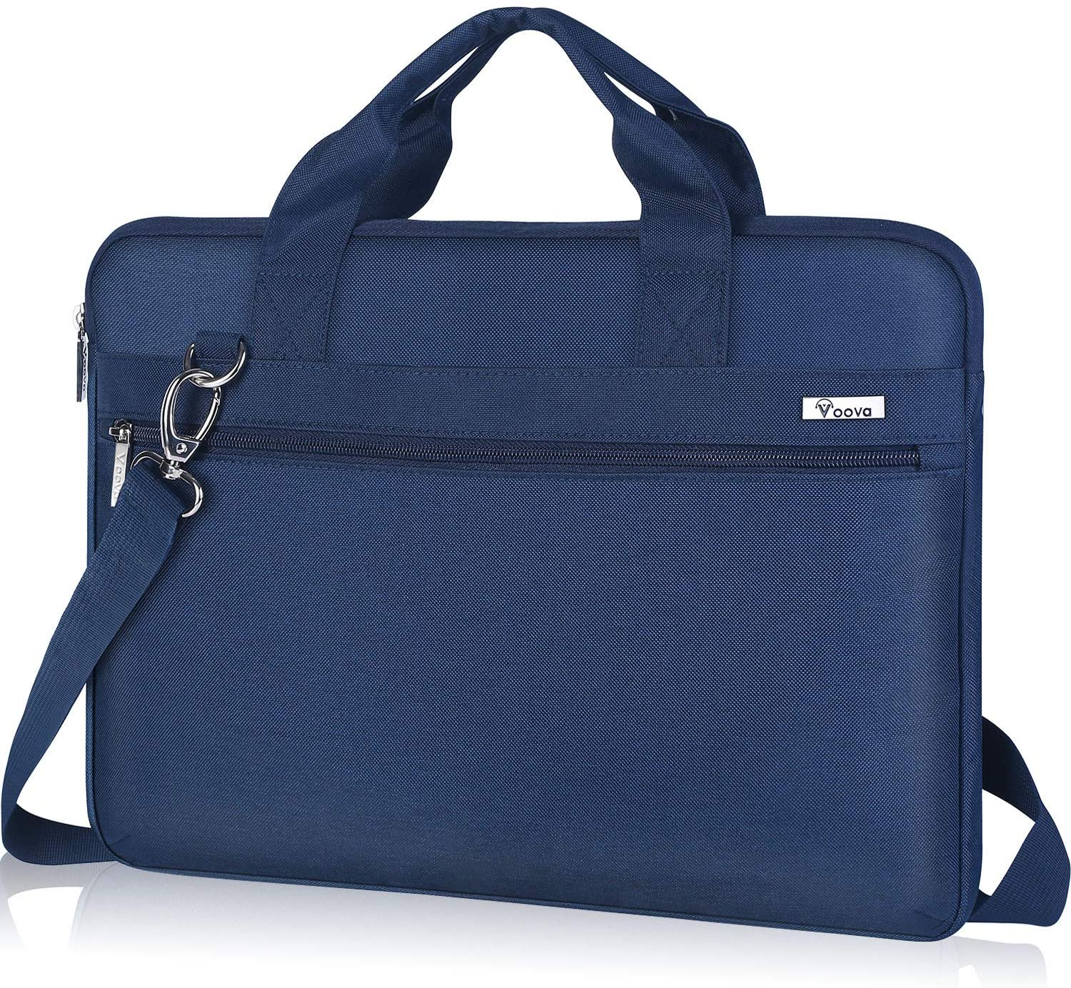 Voova Laptop Sleeve Shoulder Bag 14-15.6 Inch Carry Case, Upgrade Computer Messenger Briefcase Compatible with MacBook Pro 16 15, Surface Book 2 15, Asus Acer Dell Hp Chormebook with Organizers, Blue