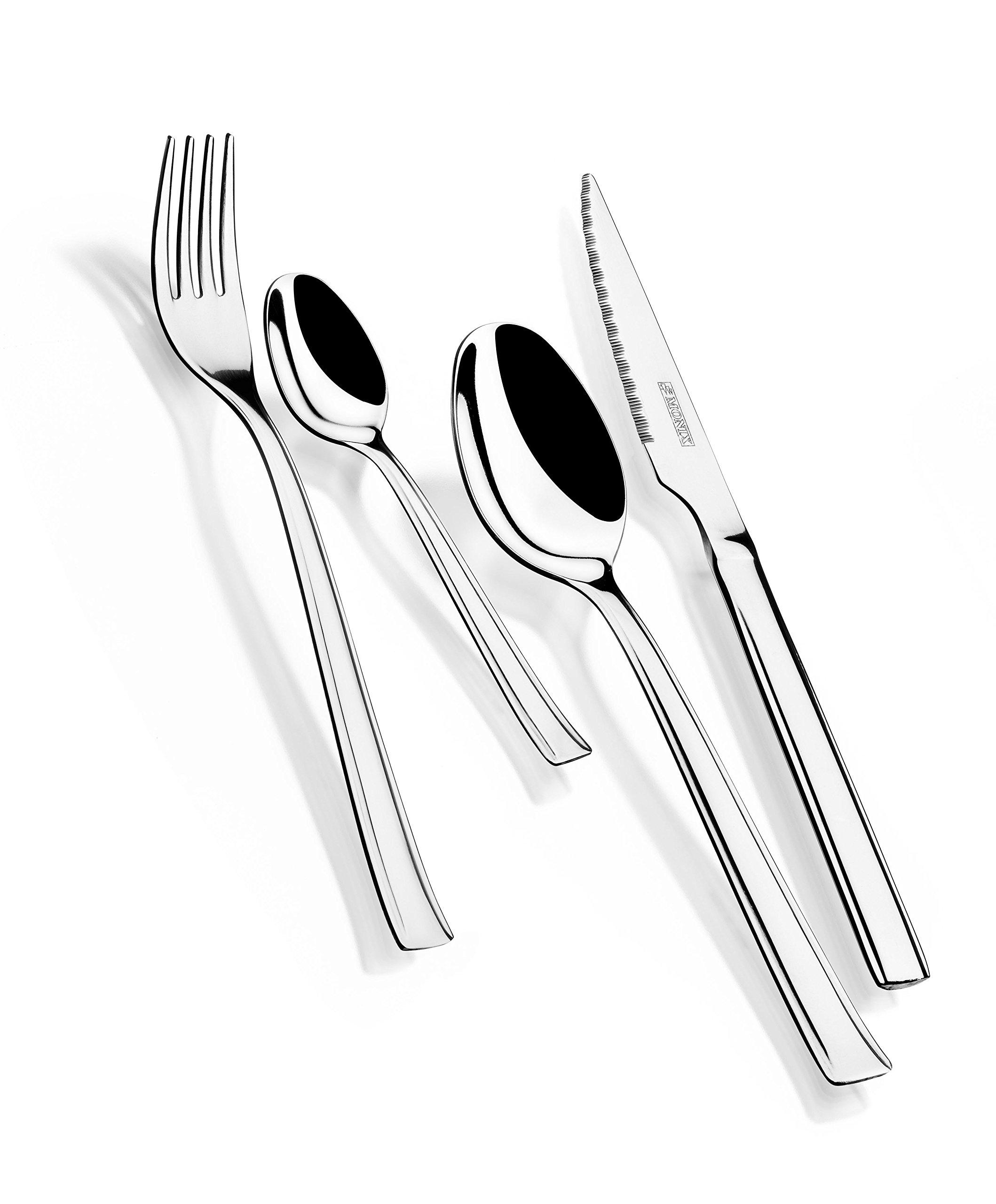 Monix Europa - Set de cubiertos 24 piezas de acero inoxidable con cuchillo chuletero, acabado