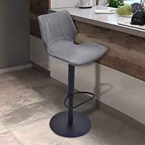 Armen Living Zuma Swivel Adjustable Barstool in Vintage Grey Faux Leather and Matte Black Metal Finish
