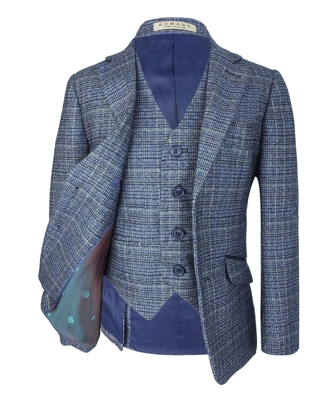 9c4c7400e98b Ragazzi Sky Blue Tweed Abito da Sposa a Quadri per Eventi Formali in 3  Pezzi o 6 Pezzi  Amazon.it  Abbigliamento