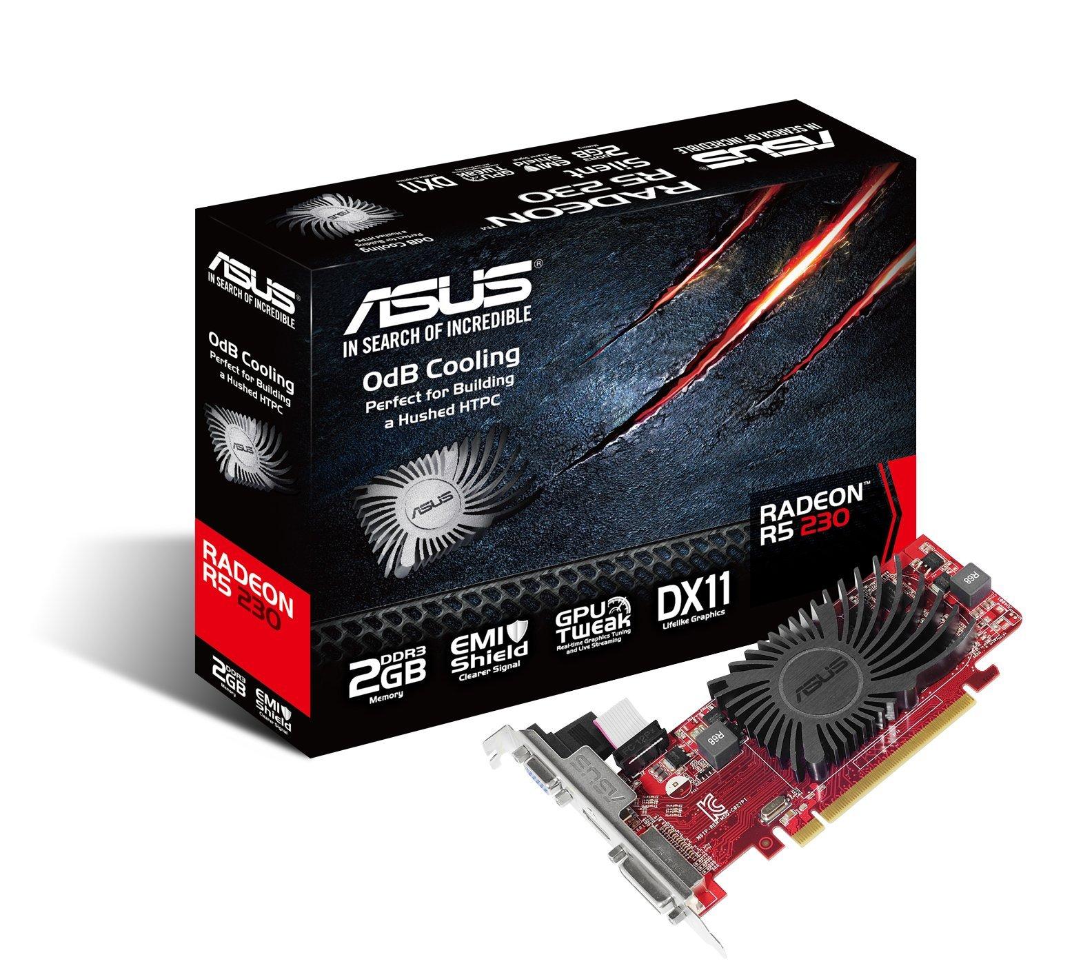 Asus Video Card R5230-SL-2GD3-L Radeon R5 230 2GB DDR3 64Bit PCI-Express DVI-D/HDMI/VGA Retail