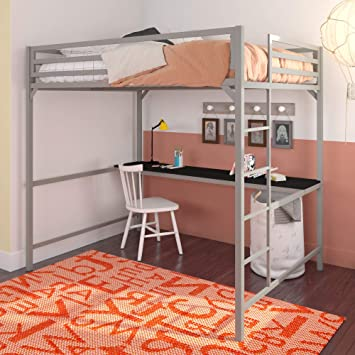 Amazon Com Dhp Miles Metal Full Loft Bed With Desk Silver Furniture Decor