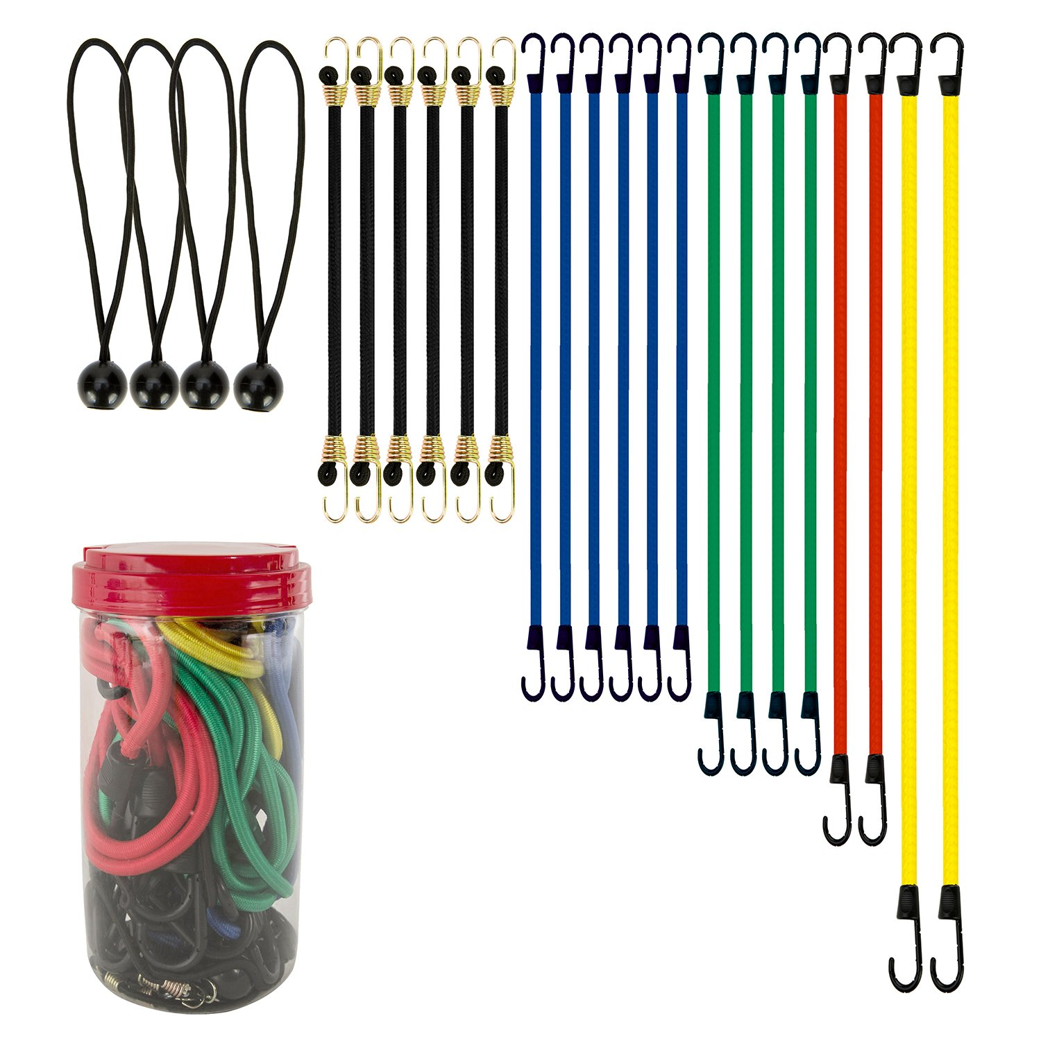 616a7c88c269 Best Choice 24-Piece Premium Bungee Cord Assortment in Storage Jar -  Includes 10""
