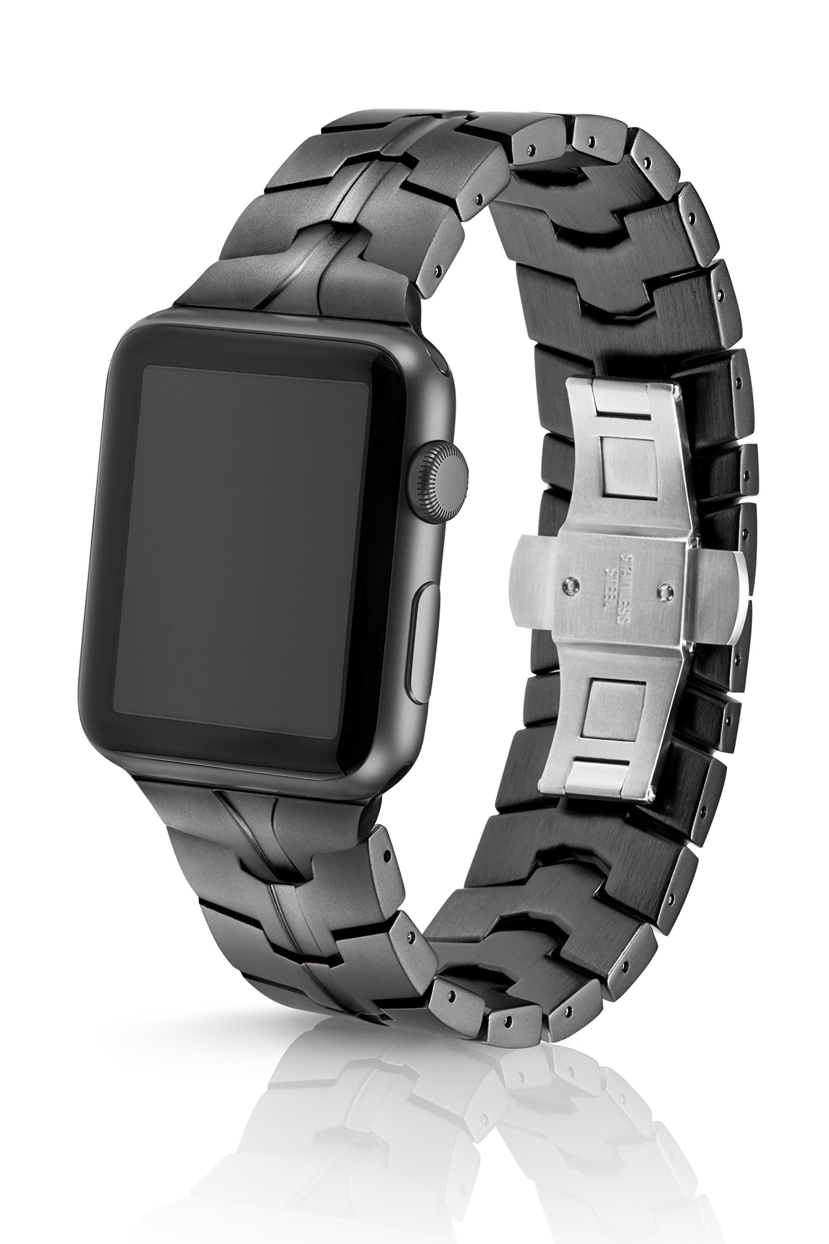 42/44mm JUUK Cosmic Grey Vitero Premium Watch Band Made for The Apple Watch, Using Aircraft Grade, Hard Anodized 6000 Series Aluminum with a Solid Stainless Steel Butterfly deployant Buckle (Matte)