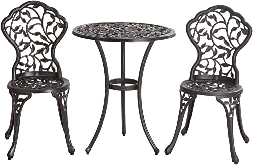 Sunjoy Vinely 24 x 24 x 28.3 Black Cast Iron and Cast Aluminum Bistro Set