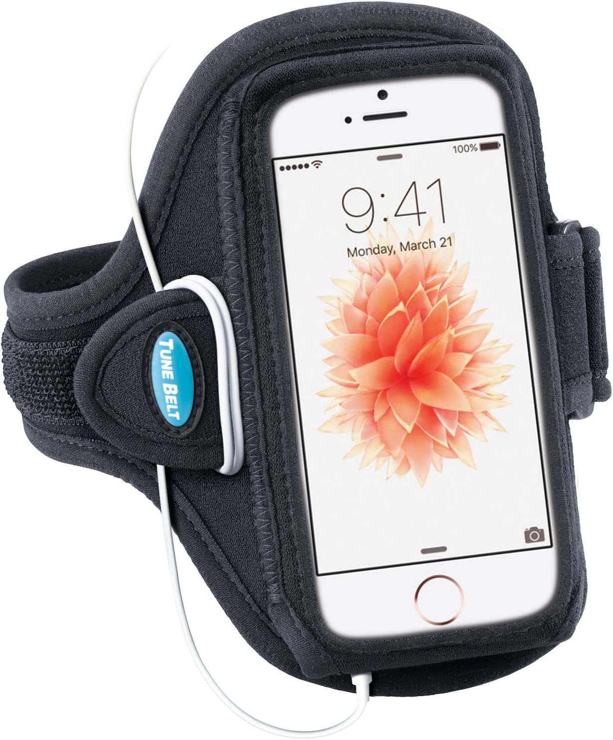 Tune Belt Armband for iPhone SE (2016) 5 5s 5c & iPod touch 5th 6th Generation - For Running & Working Out - Sweat-Resistant AB87 [Black]