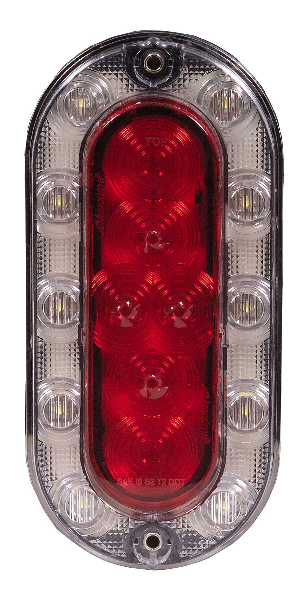Maxxima M85615R 16 LED Hybrid Series Red/White Oval LED Stop/Tail/Rear Turn and Backup Light by Maxxima