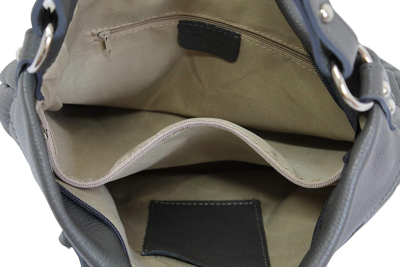 AmbraModa, bolso de cuero genuino para mujer, bolso de mano, bolso de hombro, Bolsos bandolera GL031 Azul Oscuro FYpB9f7U