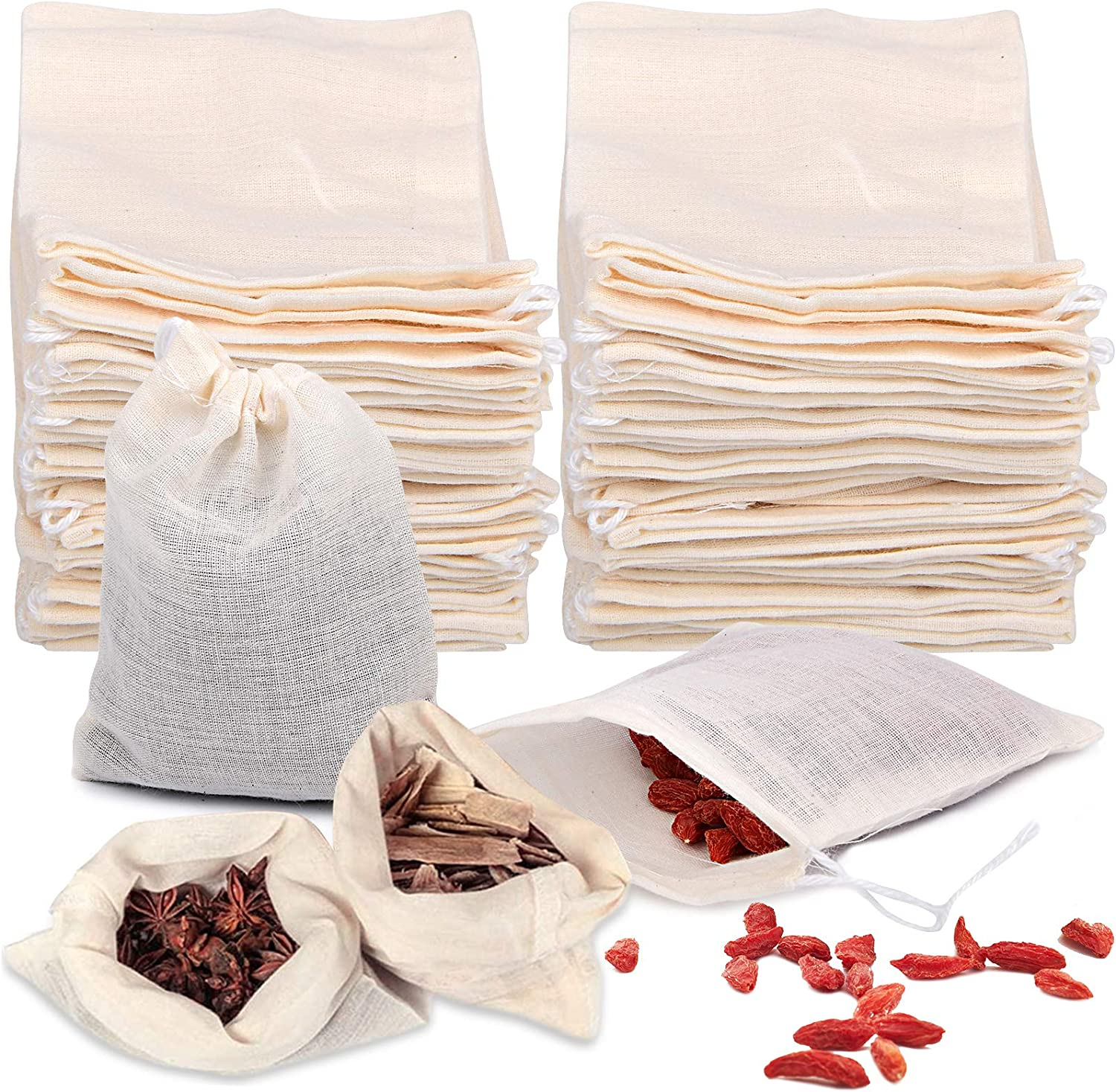 50 Pieces Tea Filters Strainer Bags Reusable Coffee Brew Herb Cheesecloth Muslin Drawstring Mesh Bag with Drawstring Safe Penetration Unbleached for Loose Leaf Tea Office Home Kitchen, 4x3 Inch Beige