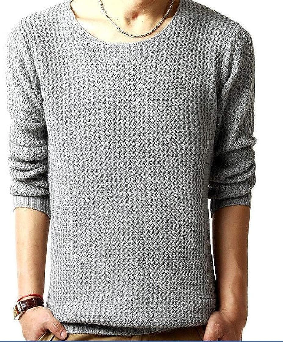 Pandapang Mens Long Sleeve Knits Pure Colour Fashion Pullover Jumper Sweaters
