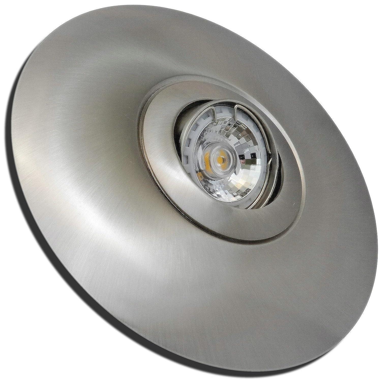 5 Stück MCOB LED Einbaustrahler Big Linus 230 Volt 3 Watt Schwenkbar Edelstahl geb.   Warmweiß