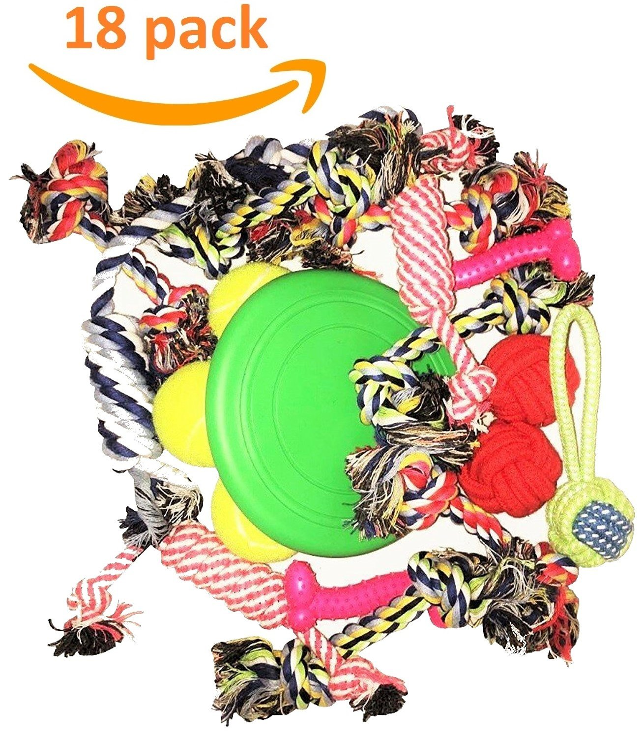 Mascota Pets Dog Toys By Olivia & Aiden - 18 Pack Dog and Puppy Interactive Chew Toys - Rope Toys, Bone Toys, Silicone Frisbee, 3 Dog Tennis Balls Dog Training Set With Interactive Knot Toys