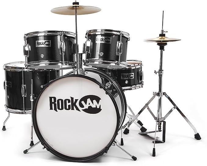 Full 5-piece metallic drum set for aspiring drummers ages 3-10