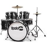 RockJam RJ-105B kompletter 5-Teile Junior Schlagzeug-Satz mit Becken (Trommelstecken, einstellbarer Thron, Zubehör) schwarz