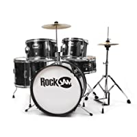 RockJam Complete 5-Piece Junior Drum Set with Cymbals, Drumsticks, Adjustable Throne and Accessories - Black