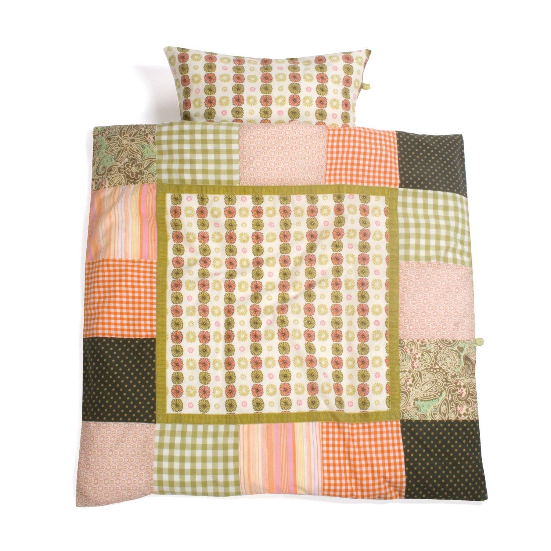 Baby Boum 80 x 80cm 100% Cotton Patchwork Cradle Duvet Set (Cotty Collection, Lime) Little Helper 100COTTY74