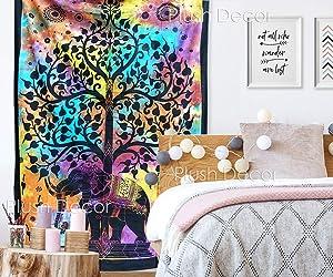 PD Plush Decor Multi Tie Dye Elephant Tree Tapestry Twin Bedspread Tapestries Bohemian Hippie Beach Throw Boho Table Cover