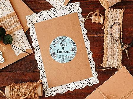 Pack 100 Etiquetas Decorativas Pegatinas Personalizadas Polipropileno Redondo Flores Blanco y Negro | 5 x 5 cm | Adhesivo de Fácil Colocación | Pegatina Decorativa: Amazon.es: Hogar