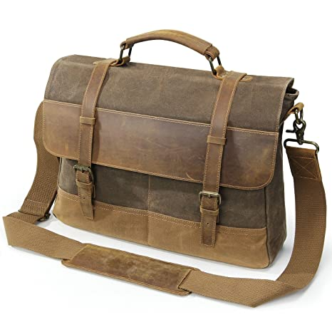 Image Unavailable. Image not available for. Color  Lifewit Mens Messenger  Bag 15.6 Inch Waterproof Vintage Waxed Canvas ... 2c8b9b46e7ece