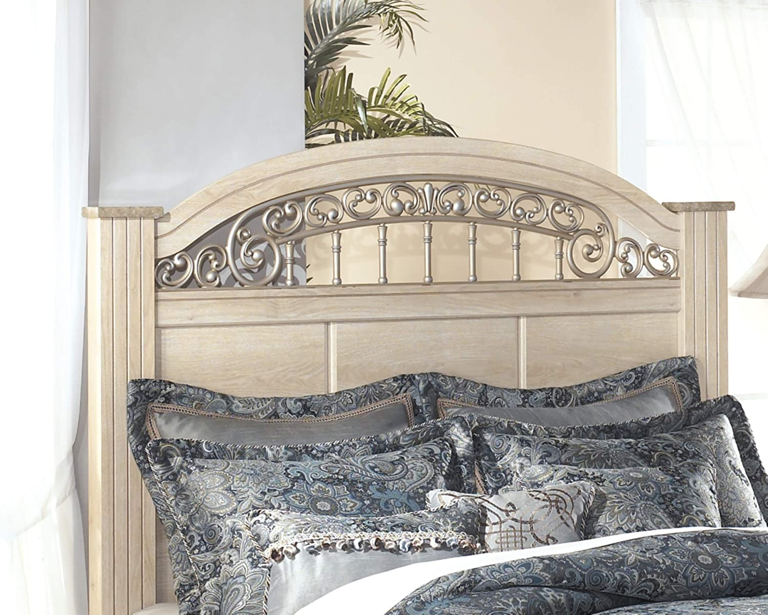 Ashley Furniture Signature Design - Catalina Poster Headboard - Antique Style Bed Set - Component Piece - Headboard Only - Queen Size - Antique White