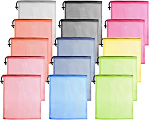 KUUQA 15 Pcs Mesh Drawstring Bag,Mesh Laundry Bag,Mesh Stuff Sack,Mesh Ball Bag,Nylon Mesh Bag for Storage Travel Sports (9 Colors)