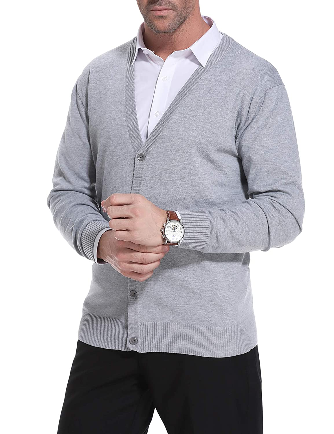iClosam Mens Casual V-Neck Long Sleeve Slim Fit Knitted Sweater Button Down Cardigan
